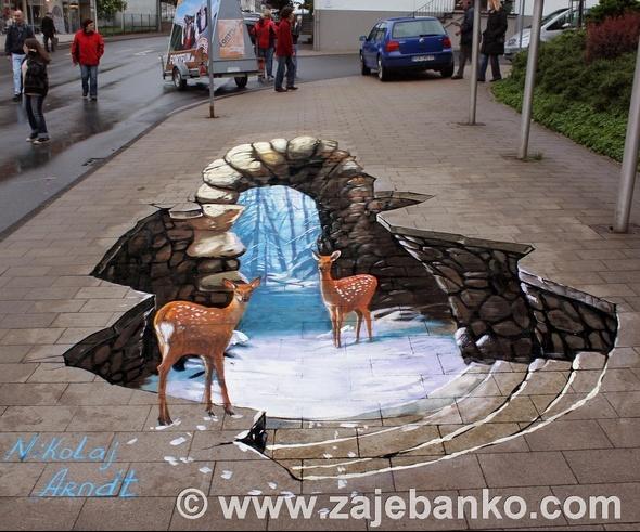 3D ulična umjetnost - optičke varke