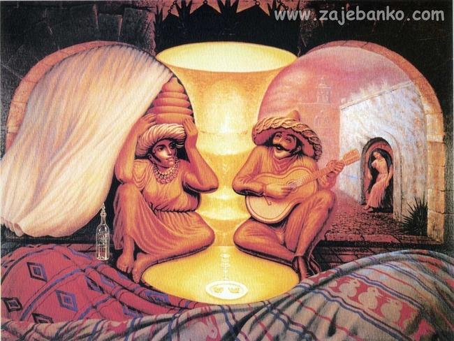 Dvoje zaljubljenih staraca - optička iluzija