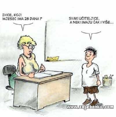 Učenik i učiteljica - smiješna slika