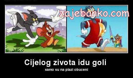 Smiješne slike likova iz crtića - Tom i Jerry na plaži
