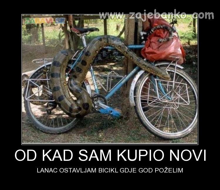 Zmija čuva bicikl