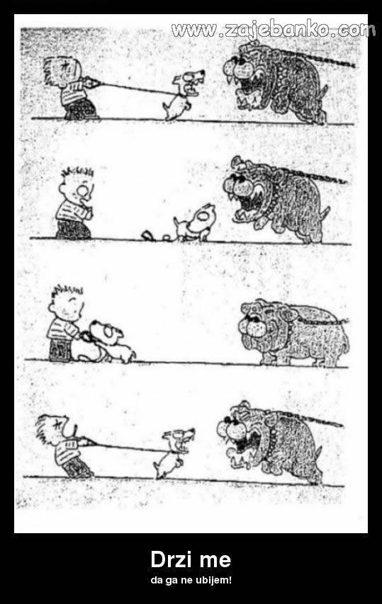 pas na lancu smiješna slika - pas koji laje na grize